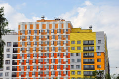 Modern new apartment building with beautiful facade color Stock Images