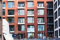 Modern and new apartment building. Multistoried, modern, new and stylish living block of flats. Real estate. New house. Newly. Built block of flats stock image
