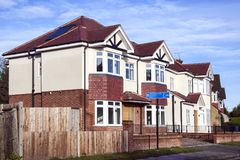 Modern new build terraced houses. Harrow, Middlesex, UK, December 26, 2017 : Modern new build terraced houses in a suburb of Greater London royalty free stock photo