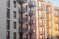 Modern new building with balconies Royalty Free Stock Images