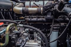 Modern new hi-tech diesel agricultural tractor or combine harvester engine.  royalty free stock image