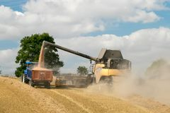 Modern New Holland combine harvester cutting crops Royalty Free Stock Images