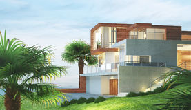 Modern new house with palm and view, 3d render illustration. House, new modern home, richness Stock Photography