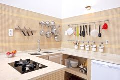 Modern new kitchen interior. With tiled walls Stock Photos
