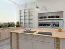 Modern new kitchen interior Royalty Free Stock Image