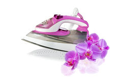 Modern new pink  electric iron and orchid flowers Royalty Free Stock Image