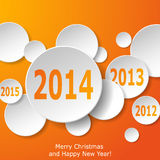 Modern New Year greeting card with paper circles on orange backg. Round. Vector eps10 illustration Stock Image