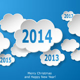 Modern New Year greeting card with paper clouds on blue backgrou. Nd. Vector eps10 illustration Royalty Free Stock Images
