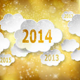Modern New Year greeting card with paper clouds on golden backgr Royalty Free Stock Image