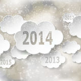 Modern New Year greeting card with paper clouds. Vector eps10 illustration Royalty Free Stock Images