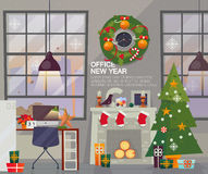 Modern New Year Office Interior. Workplace with holiday decorations Vector Flat Style. Stock Photo