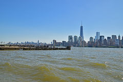 Modern New York City Viewed from Liberty State Park across Hudson River on a sunny day Royalty Free Stock Photos