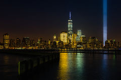 Modern New York night skyline Stock Photo