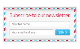 Modern newsletter form with name and email Royalty Free Stock Images