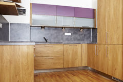 Just finished kitchen. Modern and nice design kitchen interior in contemporary city building stock photos
