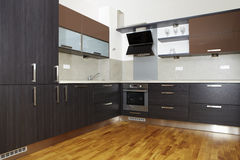 Nice and modern. Modern and nice design kitchen interior in contemporary city building stock photography