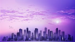 Modern night city cityscape in moonlight or sunset, with reflect Stock Photography