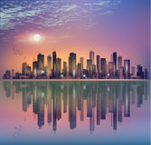 Modern night city landscape in moonlight or sunset, with reflect Stock Image