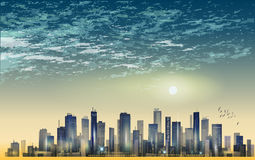 Modern night city panorama in moonlight or sunset, with reflecti. On in water and cloudy sky Stock Photo