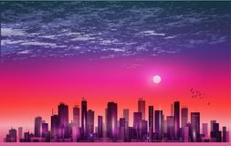 Modern night city skyline in moonlight or sunset, with reflectio Royalty Free Stock Image