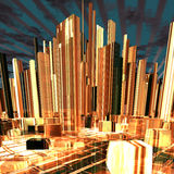 Modern night city with skyscrapers Royalty Free Stock Photo