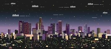 Modern night city vector illustration royalty free illustration