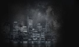 Business cityscape background. Modern night glowing cityscape with towers and skyscrapers Royalty Free Stock Photography