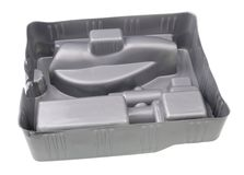 Modern  non ecological  packaging for electronis  made of gray plastic isolated. Modern  non ecological  packaging for electronis  made of gray plastic. Isolated stock image