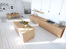Modern nordic kitchen in loft apartment. 3D rendering stock photo