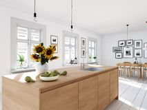 Modern nordic kitchen in loft apartment. 3D rendering stock image