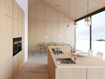 Modern nordic kitchen in loft apartment. 3D rendering royalty free stock photography