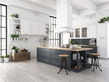 Modern nordic kitchen in loft apartment. 3D rendering. 3D rendering of modern kitchen in a loft stock photo