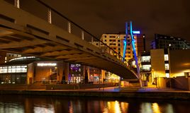 Modern northern European city at night royalty free stock images
