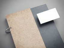 Modern notebook and blank business card. 3d rendering Royalty Free Stock Photography