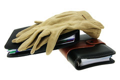 Modern notebooks and old gloves Royalty Free Stock Image