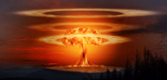 A modern nuclear bomb explosion. Royalty Free Stock Photo