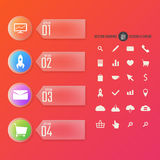 Modern numbered banners with icons set, color Vector Illustration
