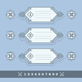 Modern numerical line banners icons set Royalty Free Stock Image
