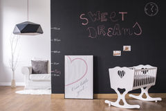 Modern nursery space with cradle Stock Photography