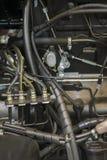 Modern ny jordbruks- diesel- traktormotor Modern ny högteknologisk motor av laddaren eller den lilla traktoren Top beskådar Den s royaltyfria bilder