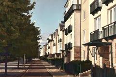 Modern ny terrasserad husillustrationeffekt Arkivbild