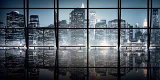 Modern NYC Interior Architecture Night Scene Concept Stock Photo