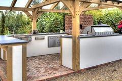 Modern Oak Wooden Garden Kitchen Room Royalty Free Stock Image