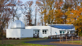 Modern Observatory. Exterior facade of futuristic building in countryside stock photography