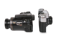 Modern and obsolete cameras 2 Stock Image
