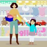 Modern och dottern i barn shoppar Royaltyfri Fotografi