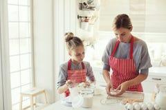 Modern och dottern lagar mat arkivbilder