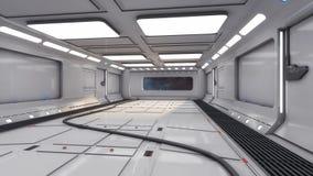 Modern och futuristisk rymdskeppkorridor Royaltyfri Fotografi