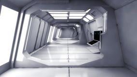 Modern och futuristisk rymdskeppkorridor Royaltyfria Bilder
