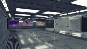 Modern och futuristisk rymdskeppkorridor Royaltyfri Bild